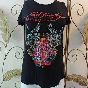 Ed Hardy Wings, Snake, and Roses Tee M